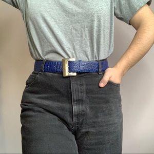 Vintage Blue Leather Crocodile Embossed Belt M/L